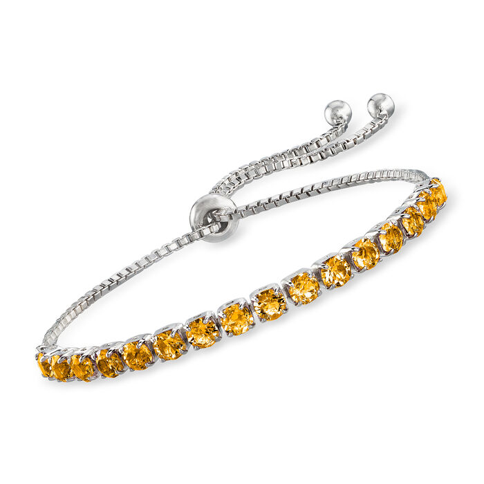 Swarovski Crystal Yellow Bolo Bracelet in Sterling Silver, , default