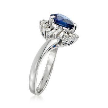 C. 1980 Vintage Tasaki 1.96 Carat Sapphire and .50 ct. t.w. Diamond Ring in Platinum. Size 6