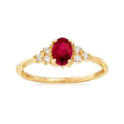 .60 Carat Ruby and .10 ct. t.w. Diamond Ring in 14kt Yellow Gold