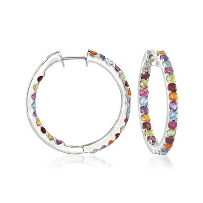 3.20 ct. t.w. Multi-Gemstone Inside-Outside Hoop Earrings in Sterling Silver, , default