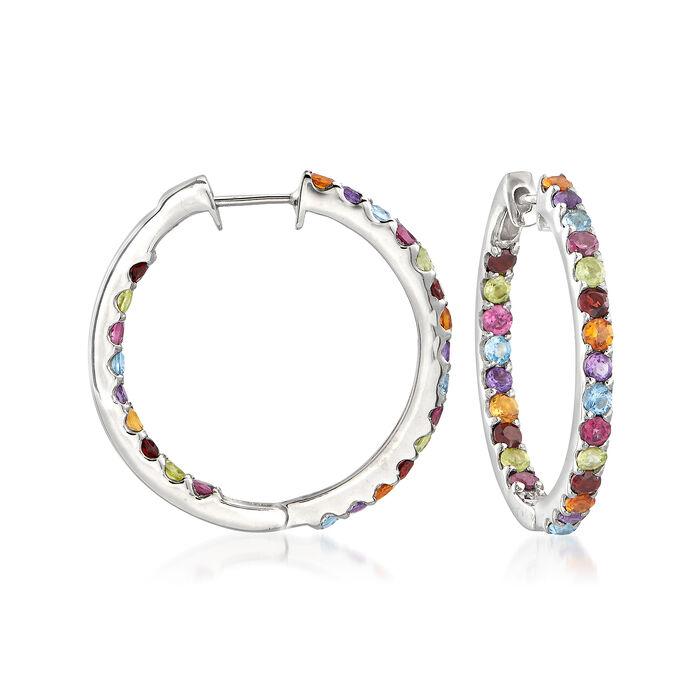 """3.20 ct. t.w. Multi-Gemstone Inside-Outside Hoop Earrings in Sterling Silver. 1"""""""