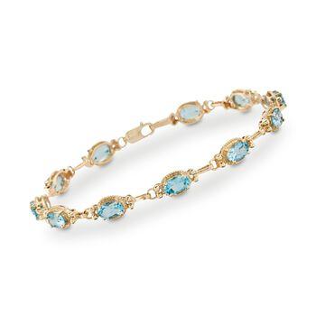 "6.25 ct. t.w. Blue Topaz Bracelet in 14kt Yellow Gold. 7"", , default"