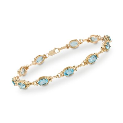 6.25 ct. t.w. Blue Topaz Bracelet in 14kt Yellow Gold, , default