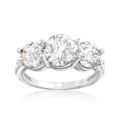 4.00 ct. t.w. CZ Three-Stone Ring in 14kt White Gold, , default