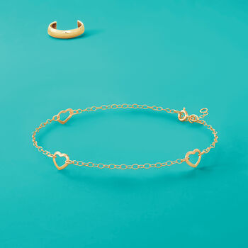 Italian 14kt Yellow Gold Open-Space Heart Station Anklet. 9""