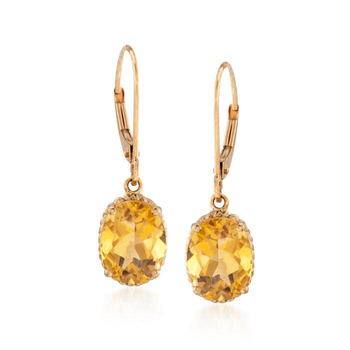 "3.20 ct. t.w. Citrine Drop Earrings in 14kt Yellow Gold. 1"", , default"
