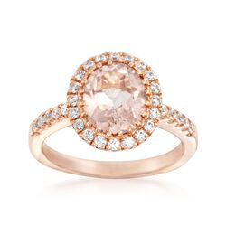 3.30 Carat Light Pink Topaz and .50 ct. t.w. CZ Ring in 14kt Rose Gold Over Sterling, , default