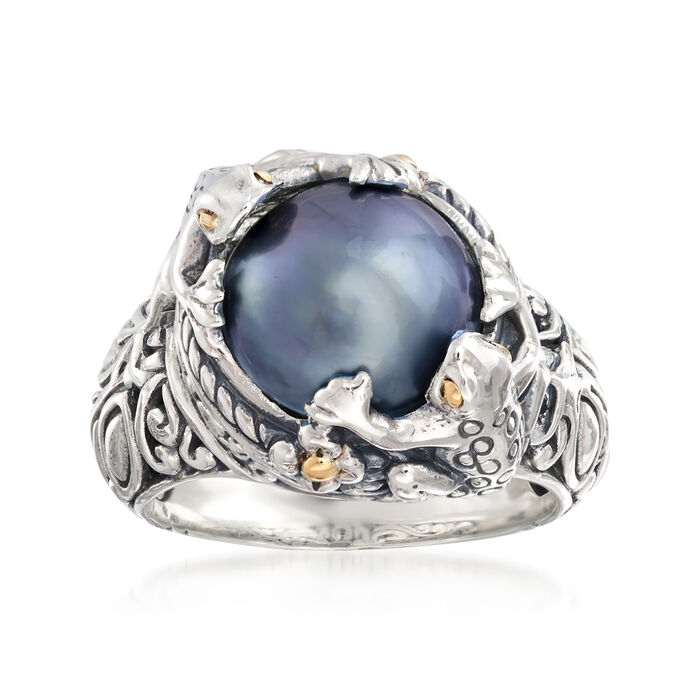 11-12mm Gray Mabe Pearl Frog Ring in Two-Tone Sterling Silver, , default