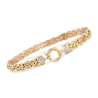 18kt Yellow Gold Byzantine Bracelet with .12 ct. t.w. Diamonds, , default