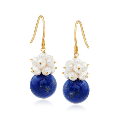 10mm Lapis and 3-4mm Cultured Pearl Cluster Drop Earrings in 14kt Yellow Gold, , default