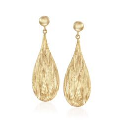14kt Yellow Gold Over Sterling Silver Textured Teardrop Earrings, , default