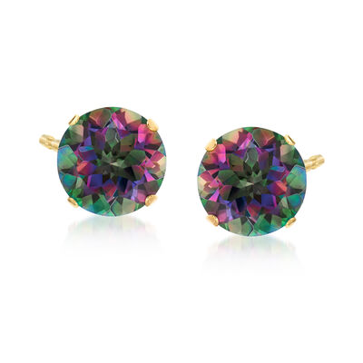 8.50 ct. t.w. Mystic Topaz Stud Earrings in 14kt Yellow Gold