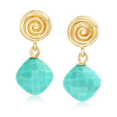 Stabilized Turquoise and 14kt Yellow Gold Drop Earrings, , default