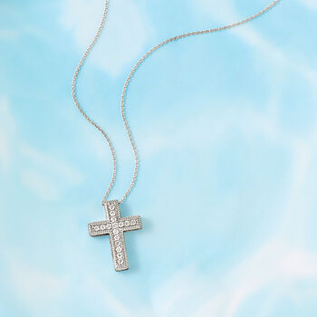 .50 ct. t.w. Diamond Cross Pendant Necklace in Sterling Silver, , default