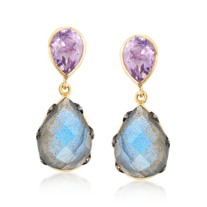Labradorite and 6.00 ct. t.w. Amethyst Drop Earrings in Two-Tone Sterling Silver  , , default