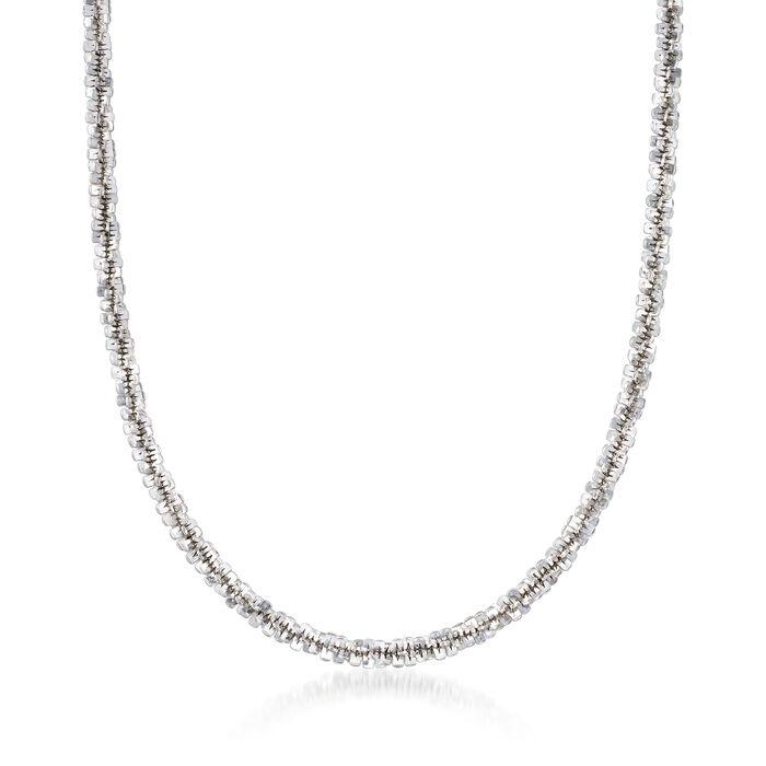 Italian 4mm Sterling Silver Crisscross Chain Necklace, , default