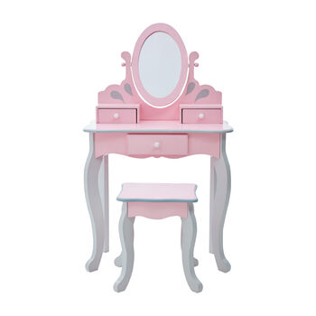Child's Little Princess Rapunzel Pink and Gray Vanity and Stool Set, , default