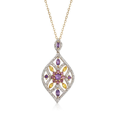 C. 1990 Vintage .90 ct. t.w. Multi-Gem and .20 ct. t.w. Diamond Pendant Necklace in 14kt Two-Tone Gold