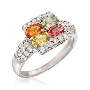 1.20 ct. t.w. Multicolored Sapphire and .35 ct. t.w. Diamond Ring in 14kt White Gold, , default