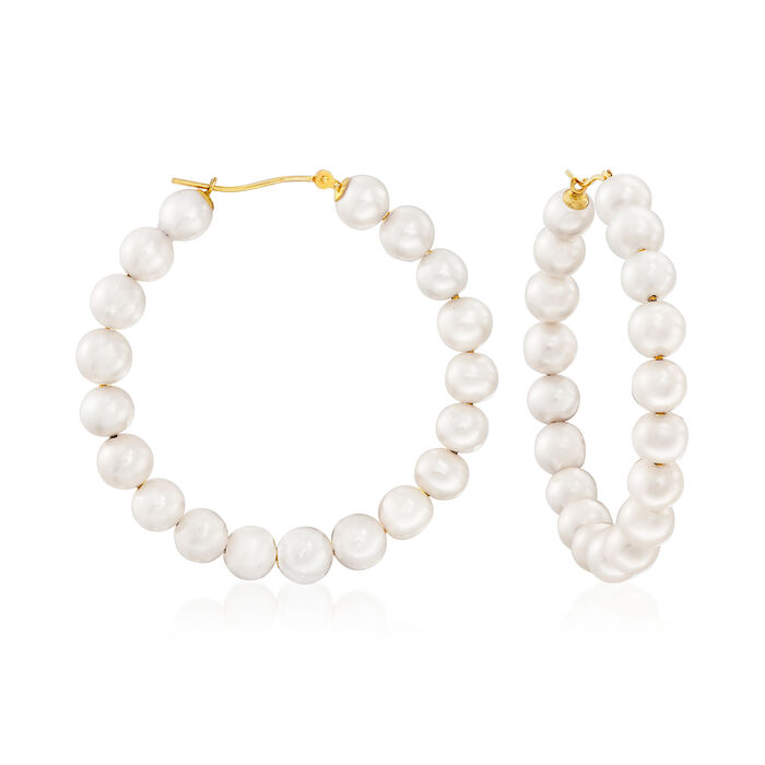 6-7mm Cultured Pearl Hoop Earrings in 14kt Yellow Gold. 1 3/4""