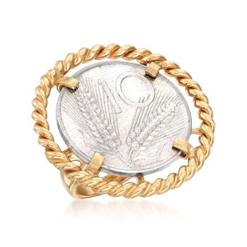 Italian Genuine 10-Lira Coin Ring in 18kt Gold Over Sterling. Size 5, , default