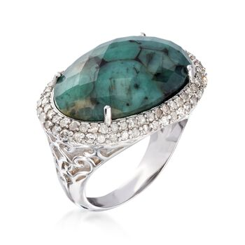 13.00 Carat Opaque Emerald and .99 ct. t.w. Diamond Ring in Sterling Silver, , default