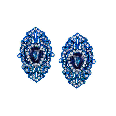 1.70 ct. t.w. Sapphire and 1.20 ct. t.w. Diamond Blue Rhodium Drop Earrings in 18kt White Gold