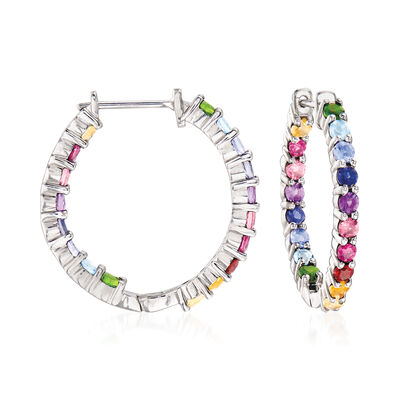 1.80 ct. t.w. Multi-Gem Hoop Earrings in Sterling Silver