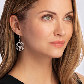 .20 ct. t.w. Diamond Circle Openwork Drop Earrings in Sterling Silver, , default