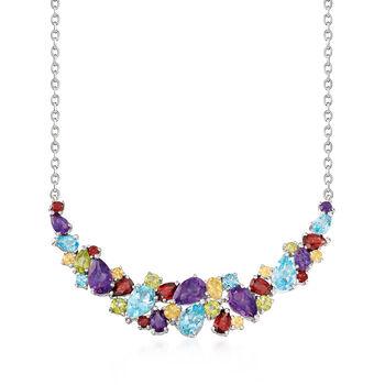 13.70 ct. t.w. Multi-Gem Cluster Necklace in Sterling Silver, , default