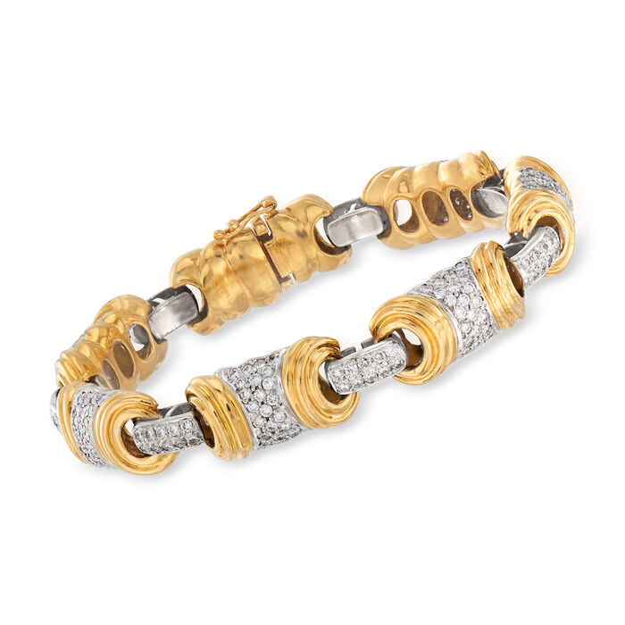 "C. 1980 Vintage 4.75 ct. t.w. Diamond Section Bracelet in 18kt Two-Tone Gold. 7.75"", , default"