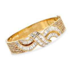 "C. 1990 Vintage 7.55 ct. t.w. Round and Baguette Diamond Twist Bracelet in 18kt Yellow Gold. 7"", , default"