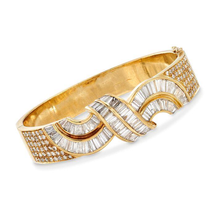 "C. 1990 Vintage 7.55 ct. t.w. Round and Baguette Diamond Twist Bracelet in 18kt Yellow Gold. 7"", , default"