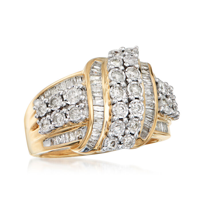 1.00 ct. t.w. Round and Baguette Diamond Ribbon Ring in 18kt Gold Over Sterling Silver