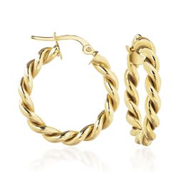 14kt Yellow Gold Spiral Hoop Earrings, , default