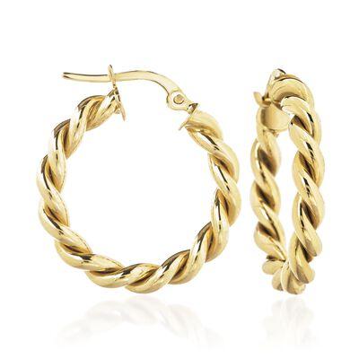 14kt Yellow Gold Spiral Hoop Earrings, , default