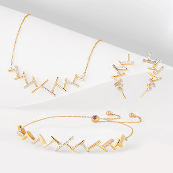 """.10 ct. t.w. Diamond """"Ski Track"""" Necklace in 14kt Yellow Gold. 18"""", , default"""