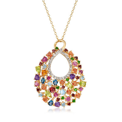 6.80 ct. t.w. Multicolored Multi-Gem Pendant Necklace in 18kt Gold Over Sterling, , default