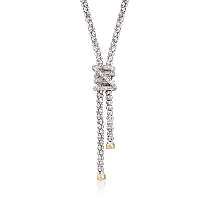 """Phillip Gavriel """"Popcorn"""" .13 ct. t.w. Diamond X Lariat Necklace in Sterling Silver and 18kt Gold"""