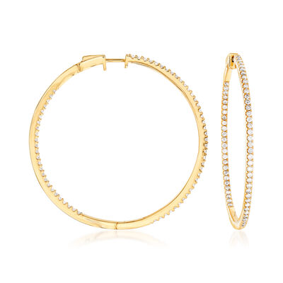 2.00 ct. t.w. Diamond Inside-Outside Hoop Earrings in 18kt Gold Over Sterling