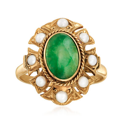 C. 1950 Vintage Green Jade and 2.5mm Cultured Pearl Ring in 14kt Yellow Gold, , default