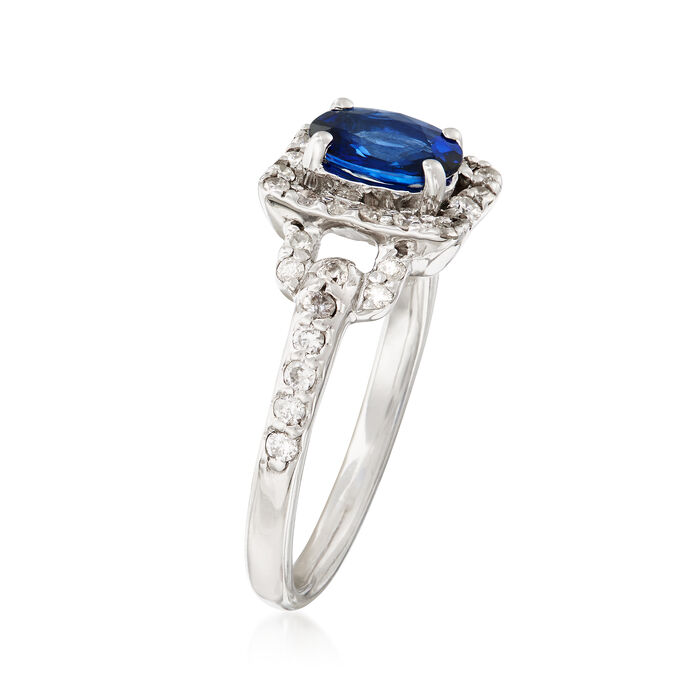 1.00 Carat Sapphire and .40 ct. t.w. Diamond Ring in 14kt White Gold