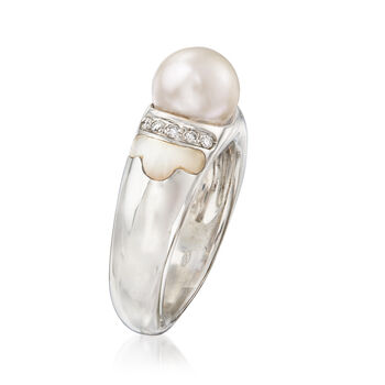 C. 1990 Vintage Cultured Pearl, Mother-Of-Pearl and .10 ct. t.w. Diamond Ring in 18kt White Gold. Size 5.75, , default