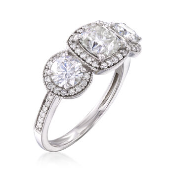 1.70 ct. t.w. Synthetic Moissanite Three-Stone Engagement Ring with .28 ct. t.w. Diamonds in 14kt White Gold, , default