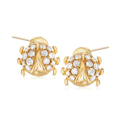 .33 ct. t.w. Diamond Ladybug Earrings in 18kt Gold Over Sterling, , default