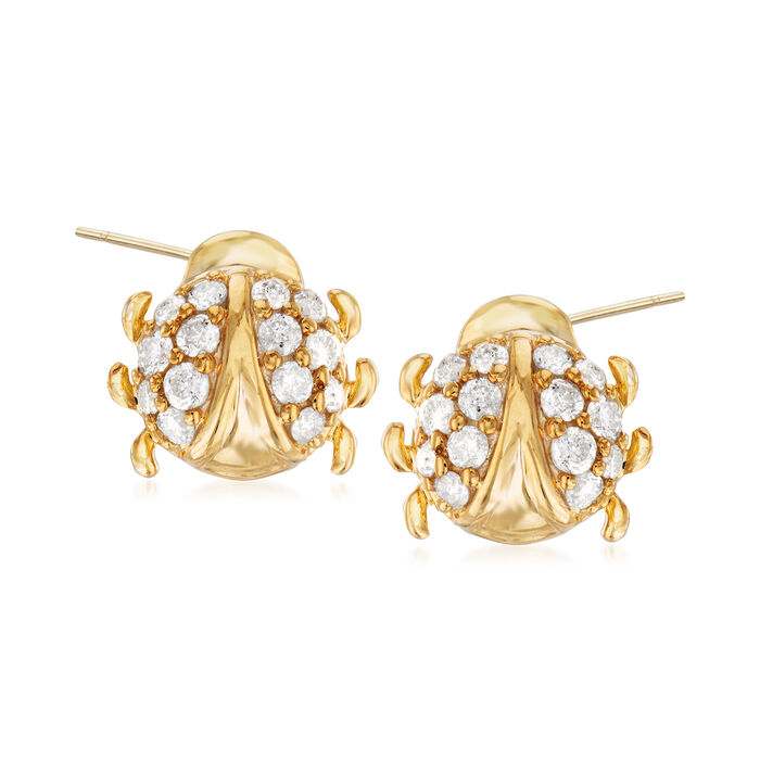 .33 ct. t.w. Diamond Ladybug Earrings in and 18kt Gold Over Sterling, , default