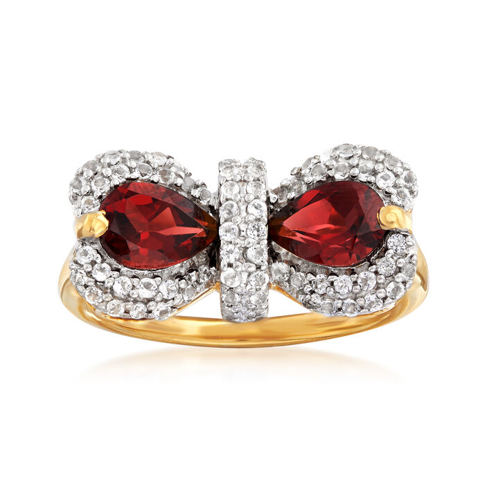 1.70 ct. t.w. Garnet and .60 ct. t.w. White Topaz Bow Ring in 18kt Gold Over Sterling