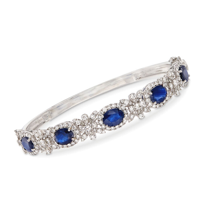 """6.25 ct. t.w. Sapphire and 3.20 ct. t.w. Diamond Bangle Bracelet in 18kt White Gold. 7.5"""", , default"""