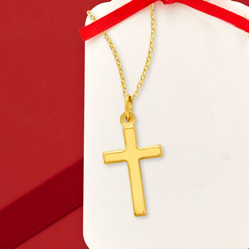Italian 18kt Yellow Gold Cross Pendant Necklace. 18""