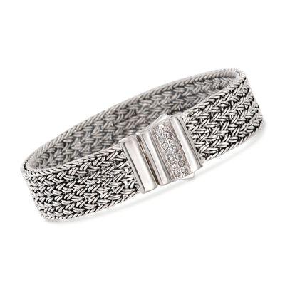 """Phillip Gavriel """"Woven"""" .30 ct. t.w. White Sapphire Basketweave Bracelet in Sterling Silver, , default"""